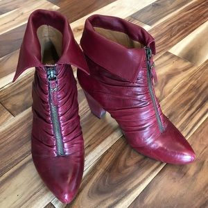 Earthies Montera Red Leather Gothic Steampunk Boot